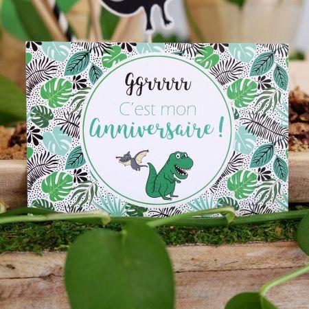 "5 cartes d'invitation ""Dinosaure"" + 5 enveloppes"