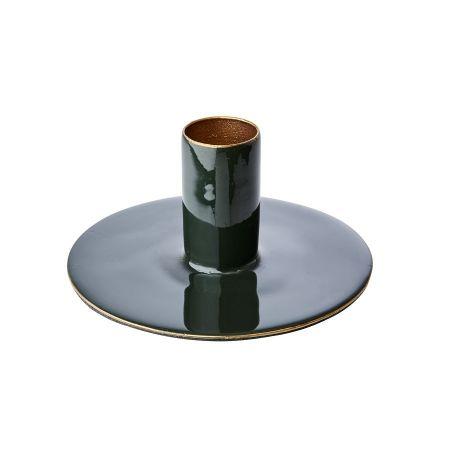 Bougeoir métal vert forêt-...