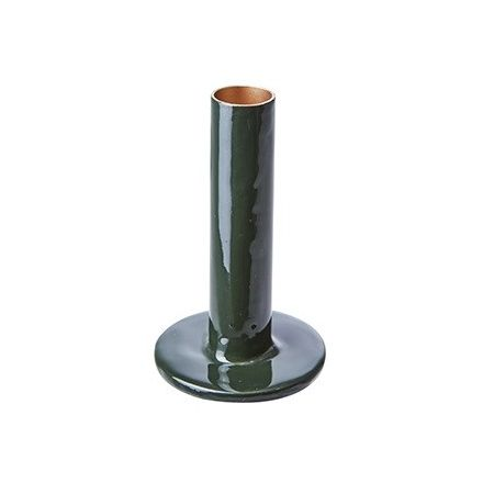 Bougeoir métal vert forêt -...