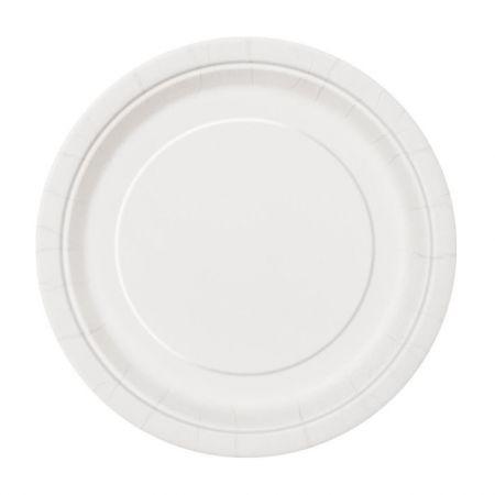 8 assiettes blanches - 23 cm