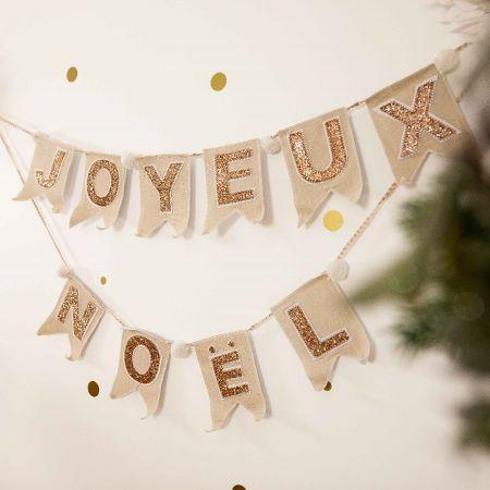 """Guirlande en lin et paillettes """"Joyeux Noël"""" - 1,80 m"""