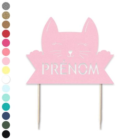"Cake topper en papier personnalisable ""chat"""