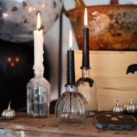 10 bougies cierge noires -...