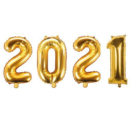 """Lot de 4 ballons dorés """"2021"""""""