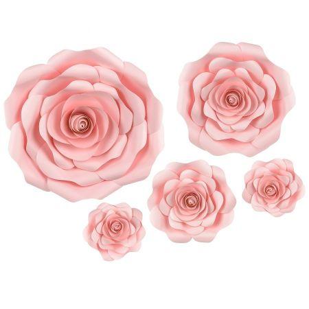 Lot de 5 fleurs roses en...