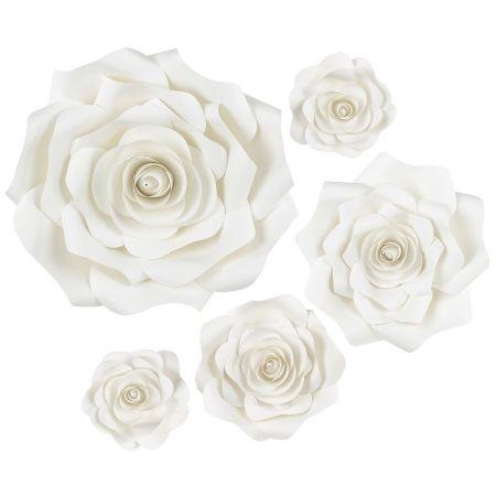 Lot de 5 fleurs blanches en...