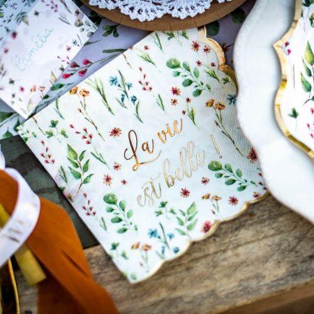 """16 serviettes """"fleurs des..."""