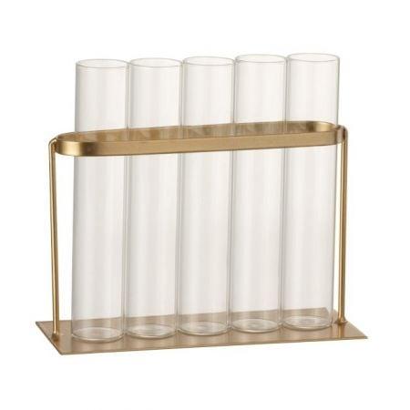 5 soliflores verre et métal...