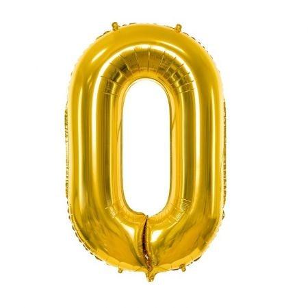 Ballon chiffre 0 mylar doré 86 cm