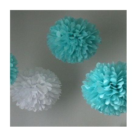 Pompon en papier bleu ciel - 25cm