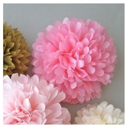 Pompon en papier rose - 25cm