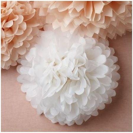 Pompon en papier blanc - 25cm