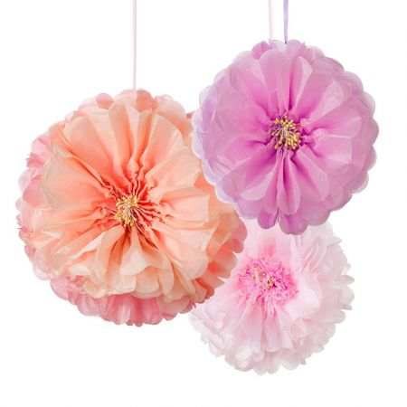 Lot de 3 pompons camaïeu de rose