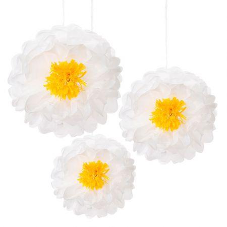 Lot de 3 fleurs papier blanches