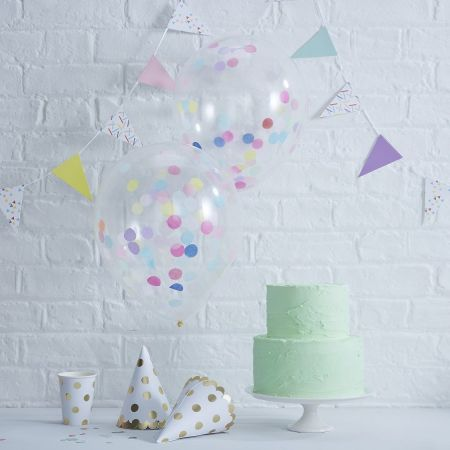 5 ballons tatoués confettis pastels