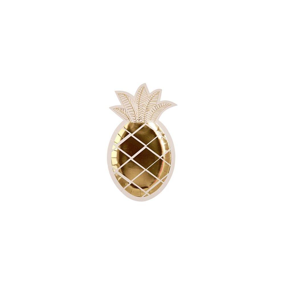 8 assiettes ananas dorées