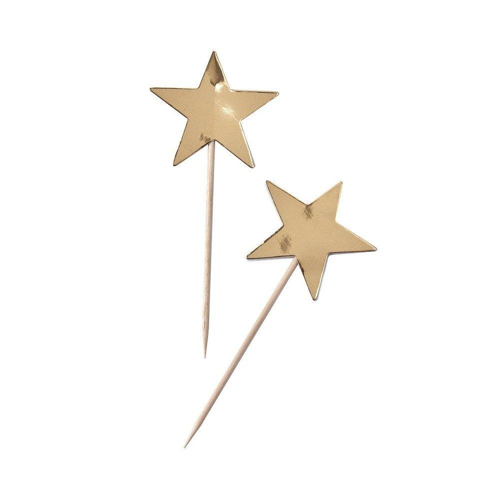 10 pics étoiles dorées pour cupcake & gâteau