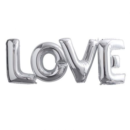 Ballons géants argentés LOVE