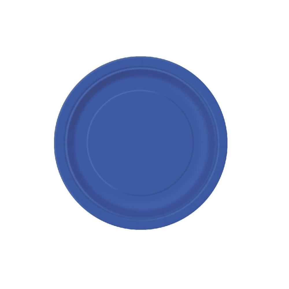 8 assiettes bleu foncé