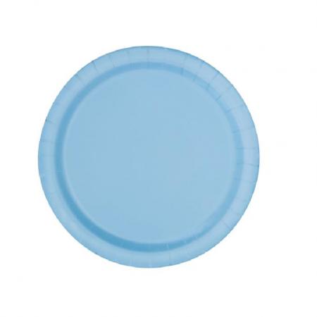8 assiettes bleu pastel