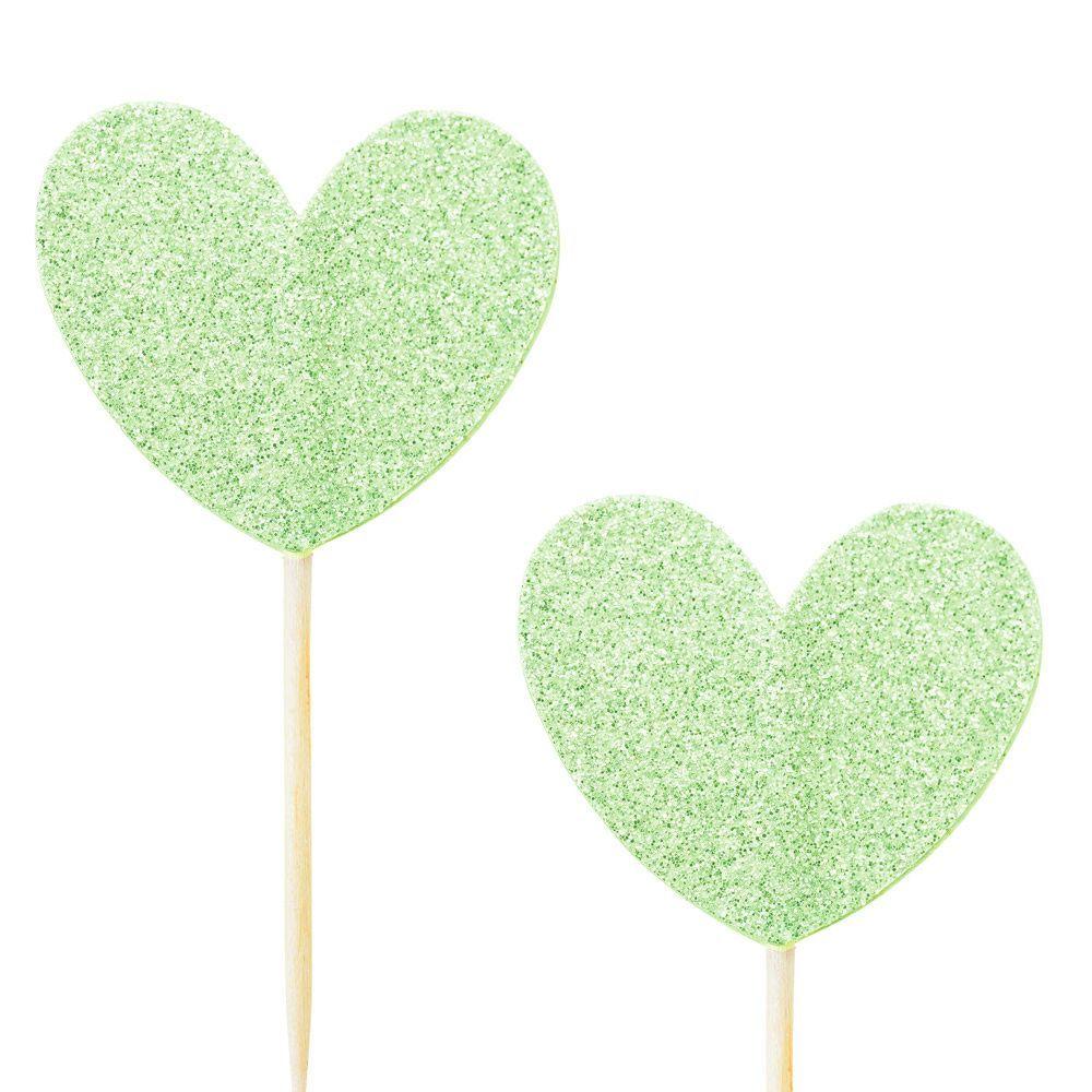 10 pics coeur glitter vert
