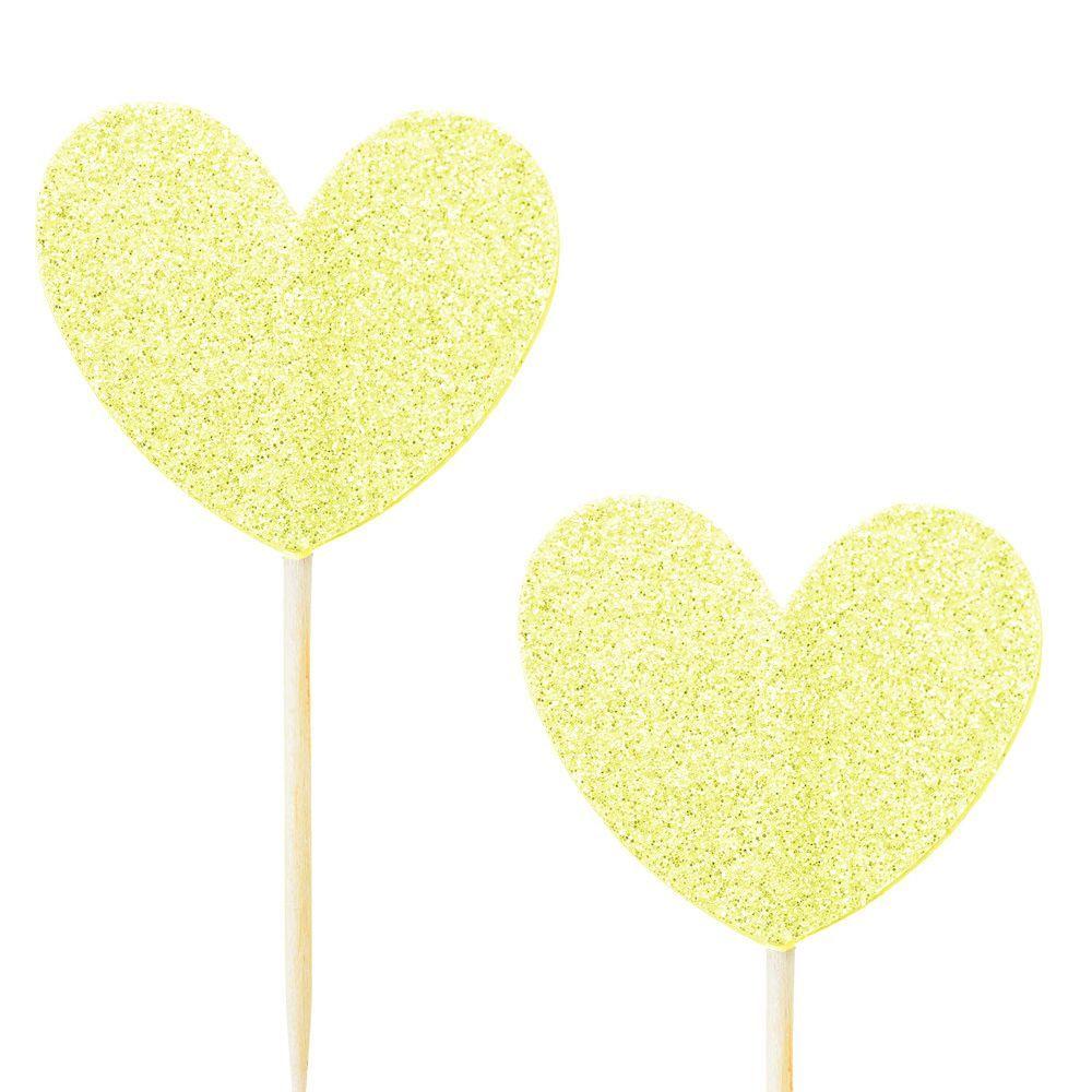 10 pics coeur glitter jaune