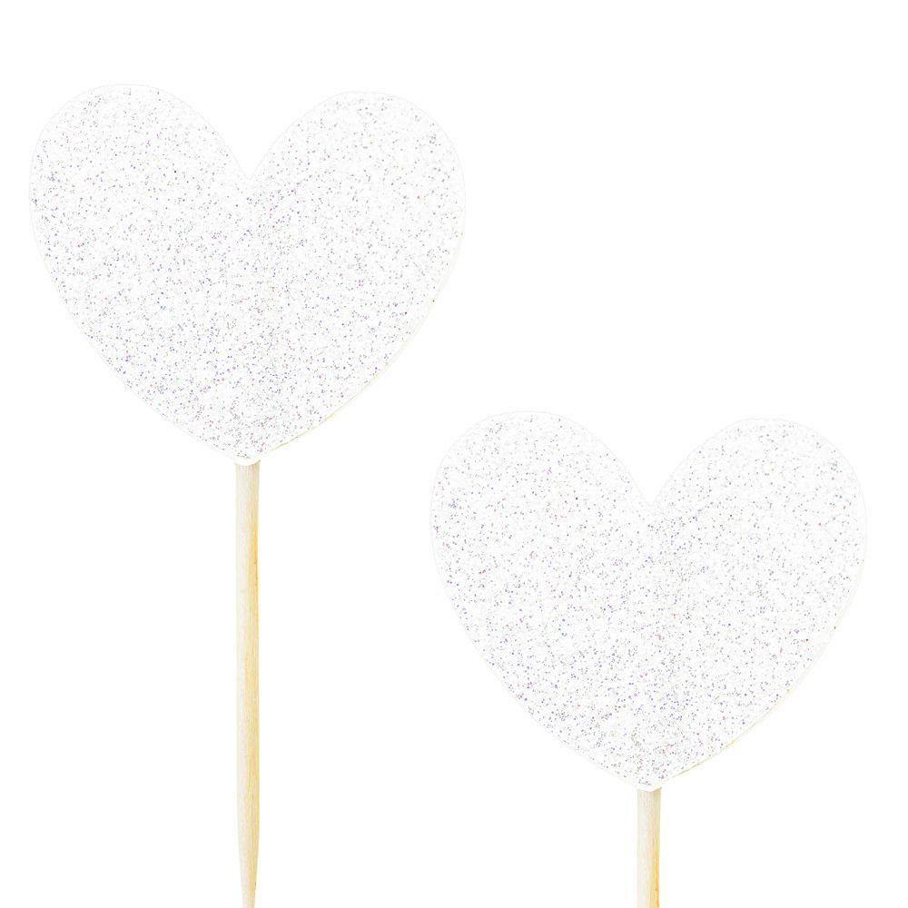 10 pics coeur glitter blanc
