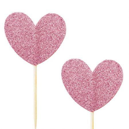 10 pics coeur glitter rose foncé
