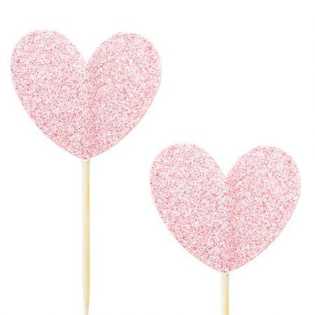 10 pics coeur glitter rose pastel