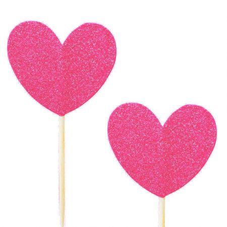 10 pics coeur glitter rose fushia