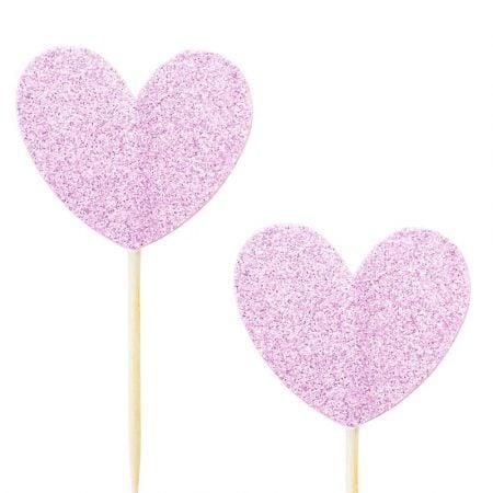 10 pics coeur glitter mauve