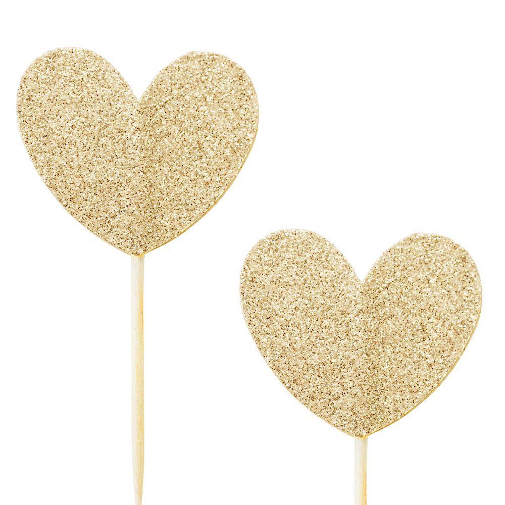 10 pics coeur glitter or