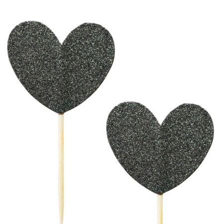 10 pics coeur glitter noir