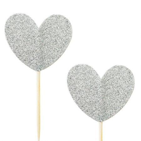 10 pics coeur glitter argenté