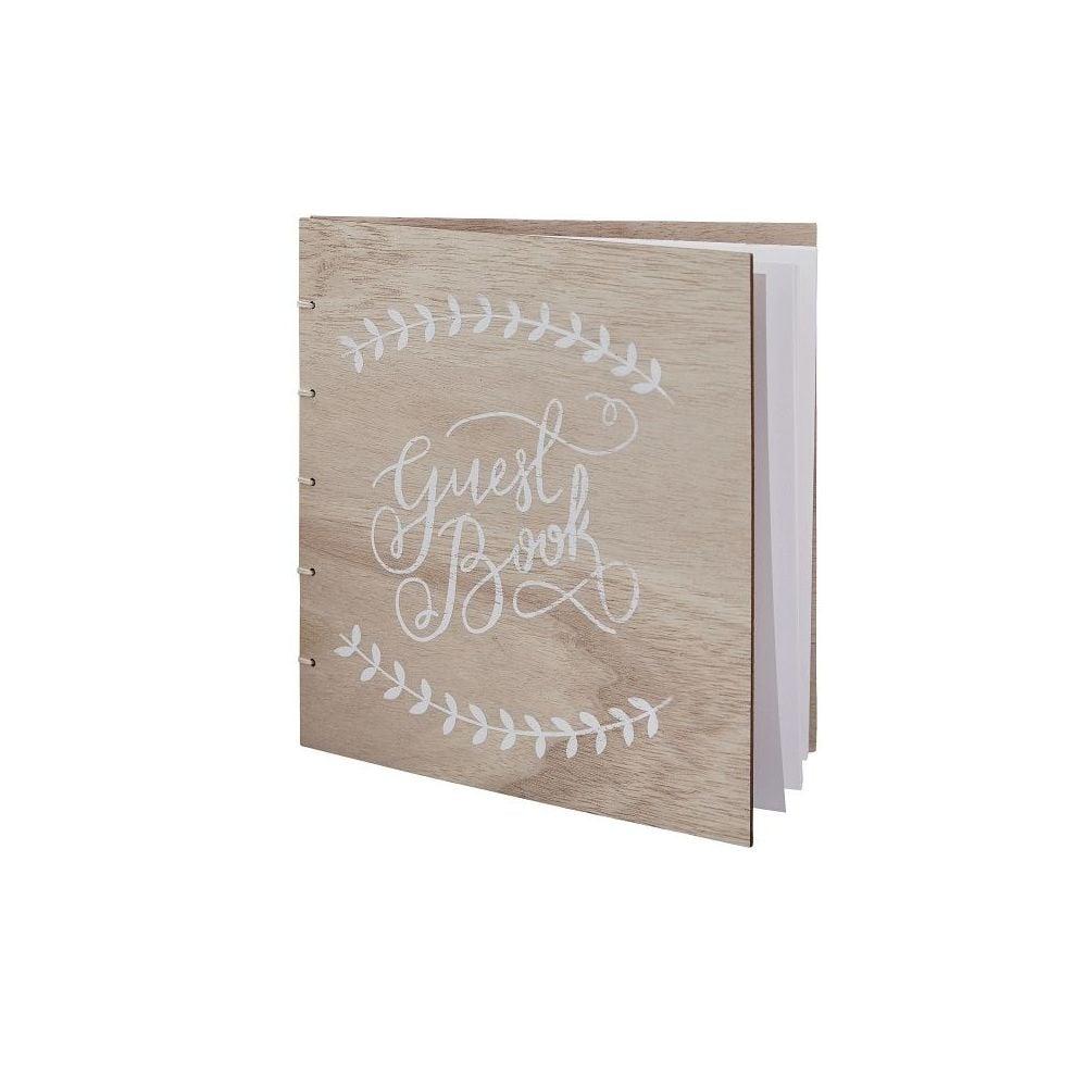 """Livre d'or en bois """"Guest book"""""""