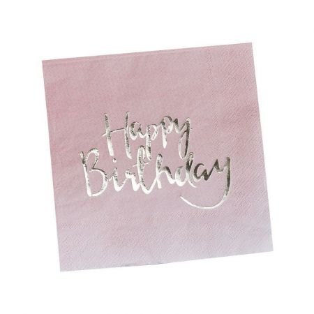"20 serviettes rose et doré ""happy birthday"""
