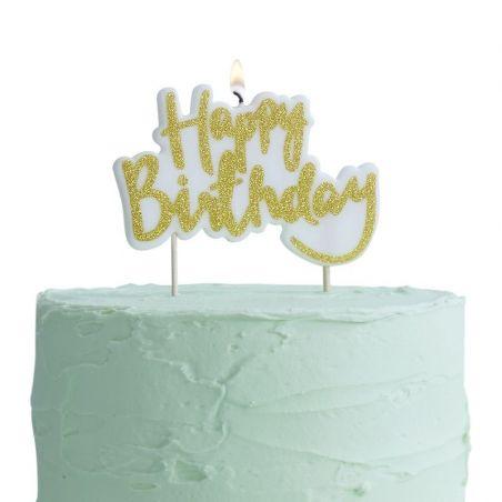 "Bougie ""Happy Birthday"" doré"