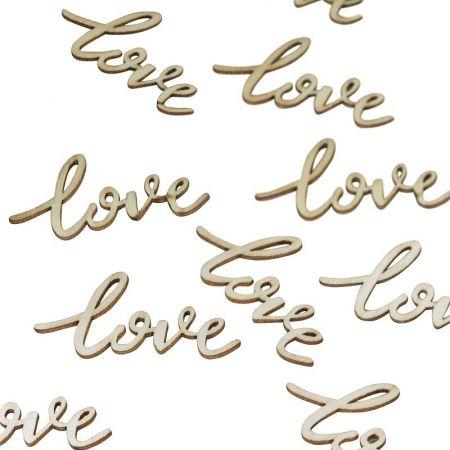 20 confettis en bois LOVE
