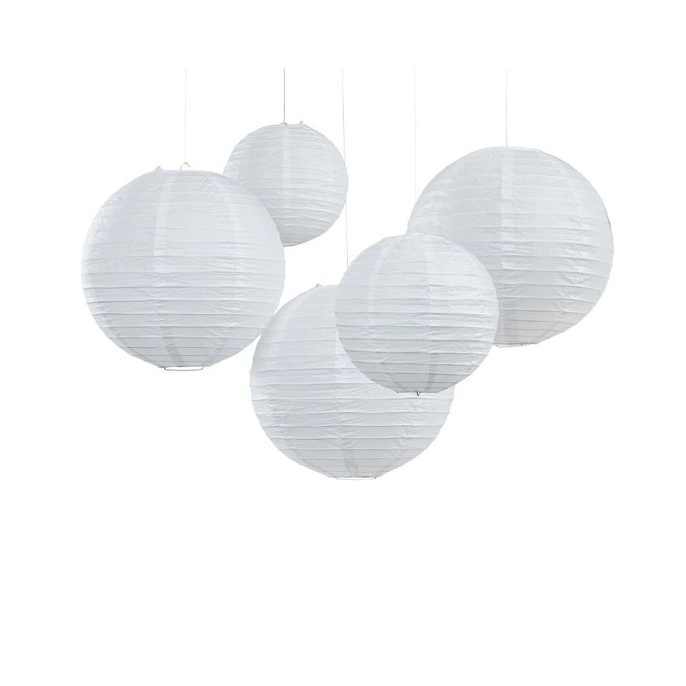 Lot de 5 lampions blancs