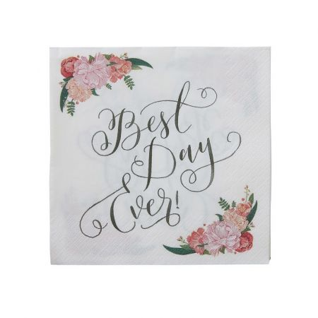 "20 serviettes fleuries ""best day ever"""