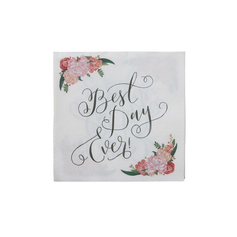 20 serviettes best day ever fleuries