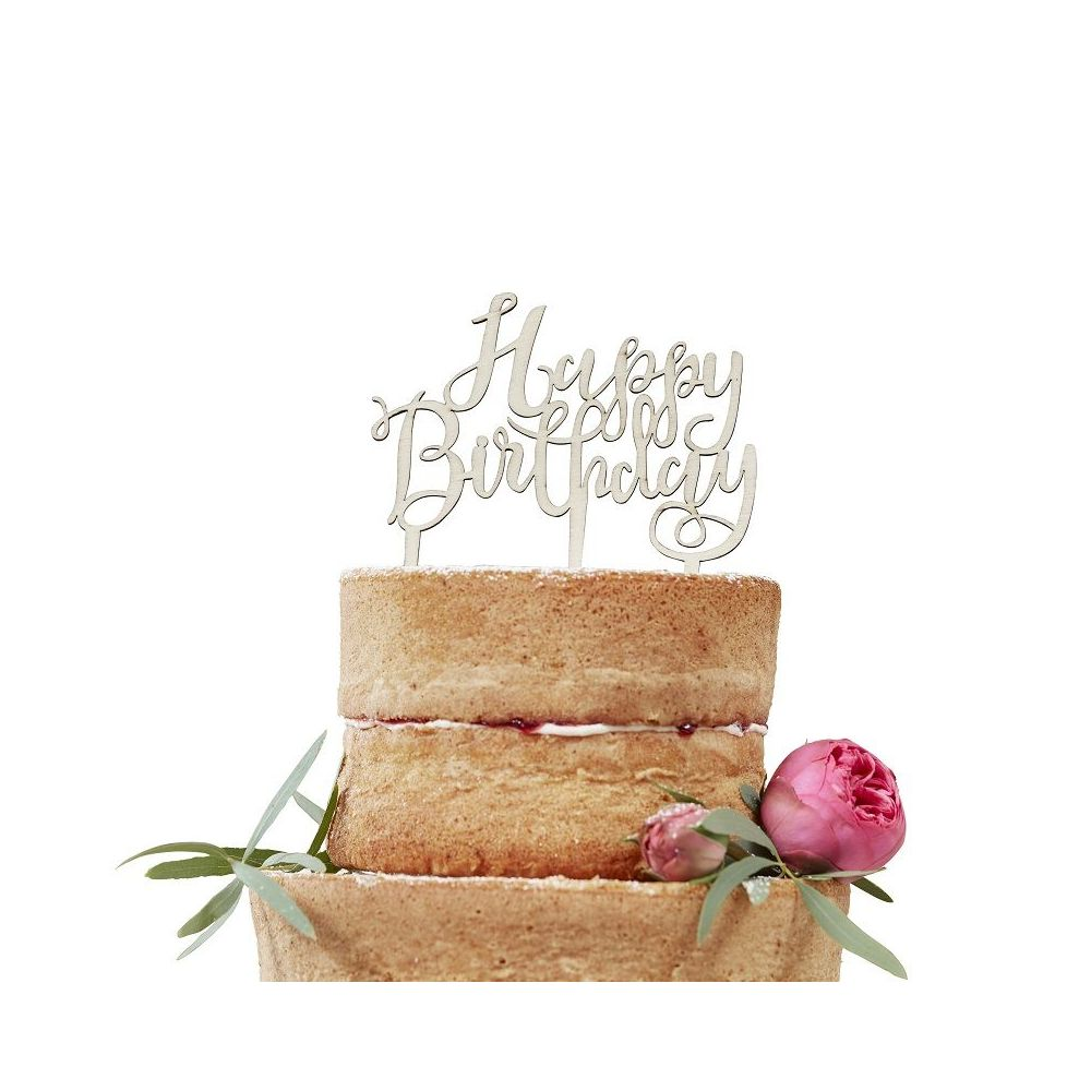 Cake topper en bois HAPPY BIRTHDAY