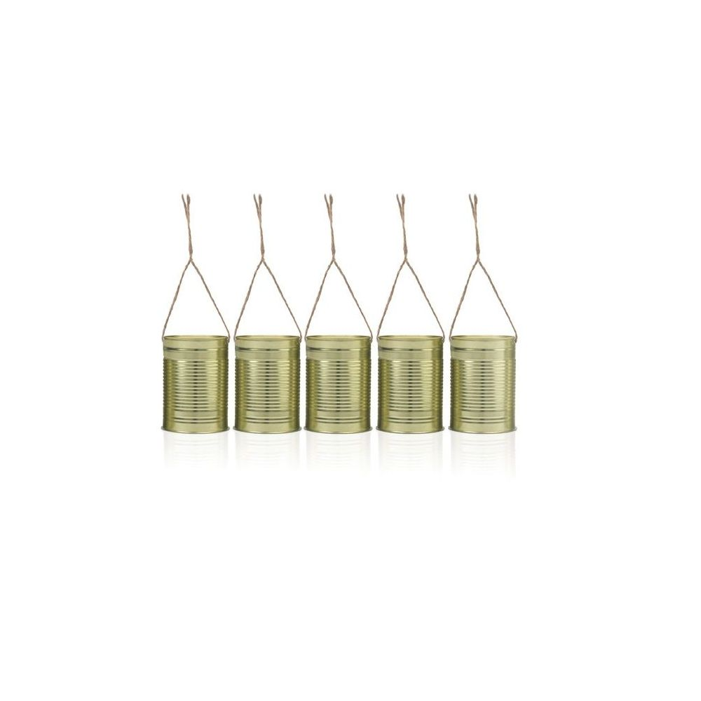 5 boites de conserves dorées à suspendre