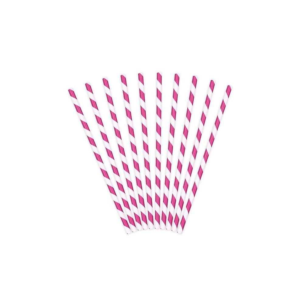 10 pailles rayures fushia