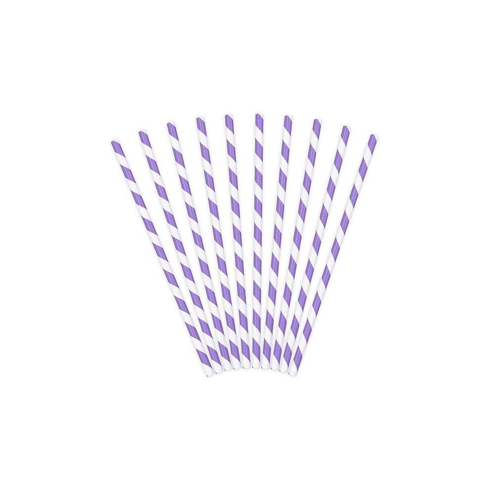 10 pailles rayures mauves