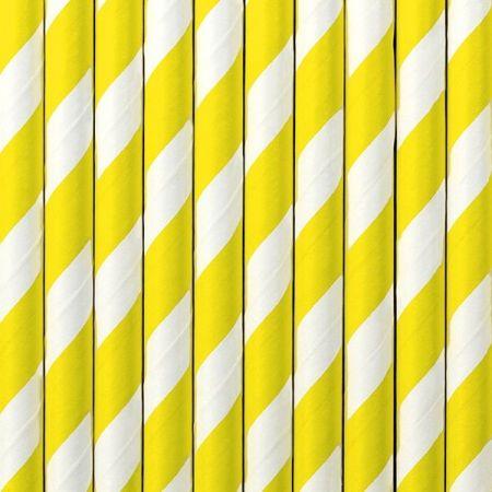 10 pailles rayures jaunes
