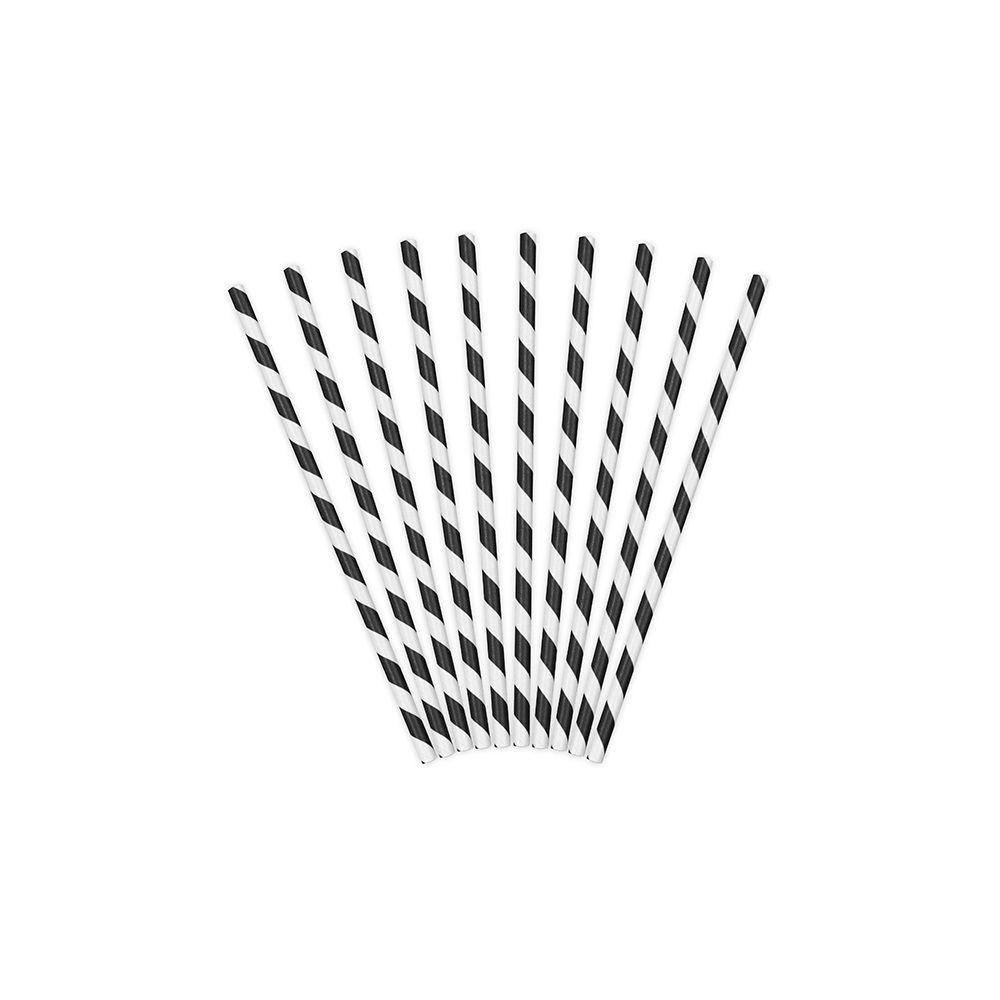 10 pailles rayures noires