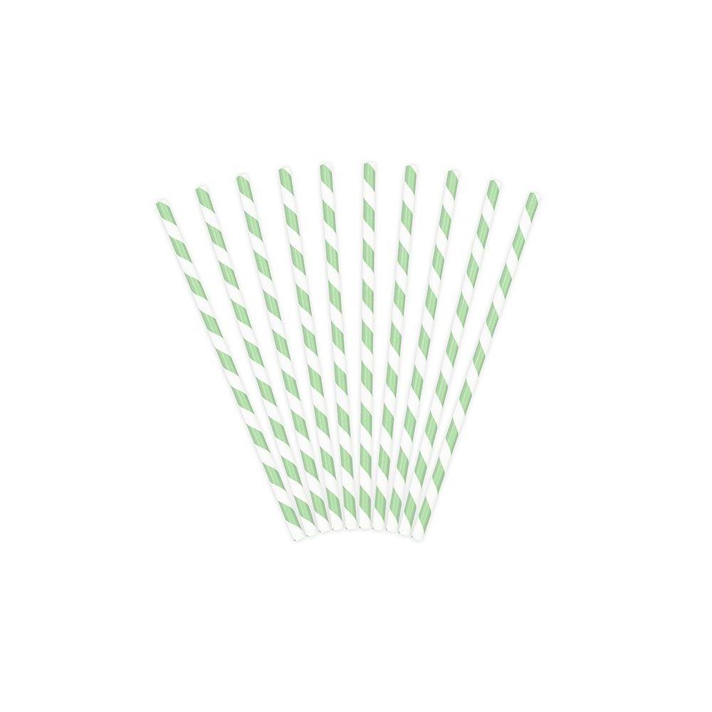 10 pailles rayures menthe