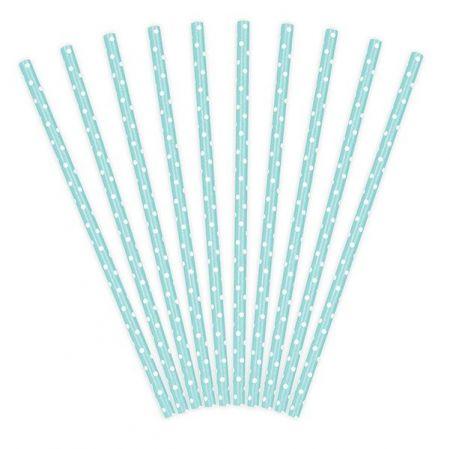 10 pailles rayures bleues ciel