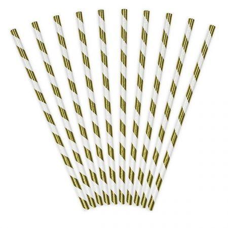 10 pailles rayures dorées